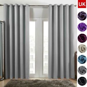 Thick Thermal Blackout Curtains Eyelet Ring Top Made Pair Curtains Pair Blackout