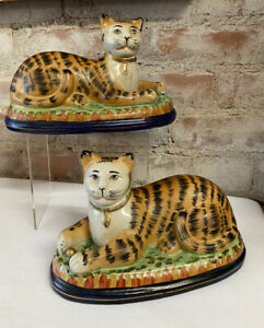 Vintage Beautiful PAIR of STAFFORDSHIRE Style Recumbent Cats HARD TO FIND