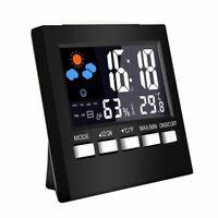 Igrometro Digitale LCD Termometro Temperatura Umidità Misuratore Orologio I S3N5