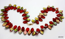 Vintage Carnival Glass Small Leaf Bead Necklace Estate Jewelry