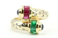 Diamant Saphir Smaragd Rubin Gold Ring 750 18K Gr 46 16 Brillanten 0,16ct VS1 H