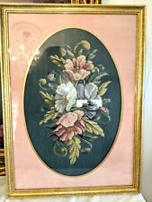 "Vtg Antique Handmade Needlepoint Oval Framed Flowers Picture 22 1/2"" x 16 1/2"""