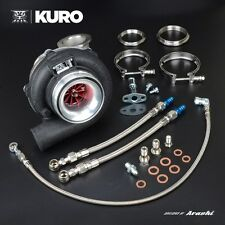 "KURO 4"" GT3076R HKS GT3037 Billet Ball Bearing Turbo w/ Adapter .63 A/R V-band"