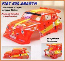 Carrozzeria Body 1/10 200mm Fiat 500 ABARTH Arancio/Gialla Verniciata Painted