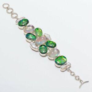 """Tripelet Fire Opal, Pearl Handmade Ethnic Style  Jewelry Bracelet 7-8"""" UL"""