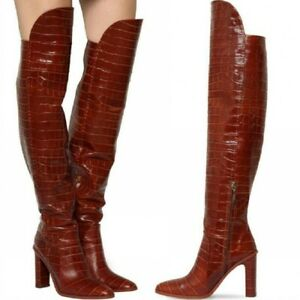 Women Long Crocodile Printed Over The Knee Boots Zip Up Block Heels Shoes Party