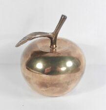 Solid Brass Teacher's Apple Bell with Leaf - Vintage