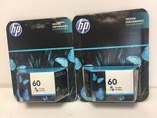 2X Genuine HP Ink Cartridge HP 60 Tri-Color OEM Sealed SHIPS FREE EXP 09/2018