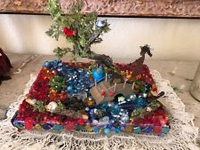 """Sculpture-assemblage art creation """"Walking my dog"""" colorful stones and beads'"""