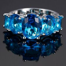 Blue Cubic Zirconia Silver Plated Five Oval Stones Ring Various Size