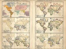 Carta geografica antica ANIMALI NEL MONDO Tav 1/2 1890 Old antique map