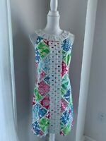 Lilly Pulitzer Beaded Cotton Patchwork Print Sleeveless Shift Dress SZ 6 S