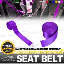 Purple 3.6M Seat Belt Webbing Polyester Seat Lap Retractable Nylon Safety Strap