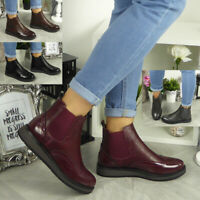 Womens Ankle Chelsea Brogue Boots Ladies Casual Slip On Comfy Smart Flat Shoes