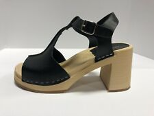 Swedish Hasbeens Stitchy Sandals Black Leather, Block Heel, Euro 37 Wo's 7M