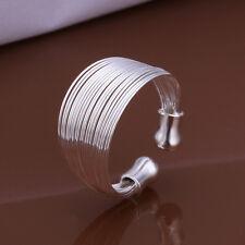 925 Sterling Silver Stone Plain Bangle Band Ring Size 8 B146