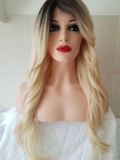 Blonde Human Hair Wig, Real Hair, Hair Blend, Long, Side Fringe Part Lace Front