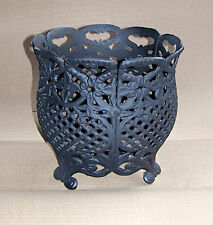 "12"" Cast Iron Basket Black Planter Home Decor Mum Container"