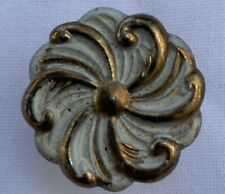 True Vintage Drawer Pull Hyer USA brass shabby white enamel paint French Country