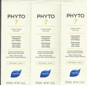 3x Phyto 7 Moisturizing day cream with 7 plants for dry hair 15 ml/.52 oz.