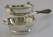 RARE ENGLISH SOLID STERLING SILVER TILITING TEA STRAINER AND DRIP BOWL 2000