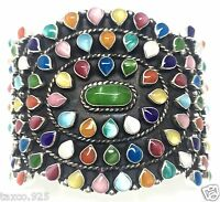 TAXCO MEXICAN STERLING SILVER MULTI INLAY CUFF BRACELET MEXICO