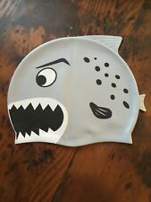 Child's Swimming Hat, Cap. Grey Fish, Silicone
