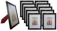 Frame Amo 8x10 Black Wood Picture Frame, Mat for 4x6, Glass Front, 1, 3, 10 PACK