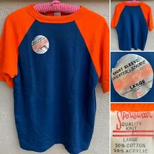 Vintage Raglan Sweatshirt Sportswear Quality Knit Short Sleeve Sweater Shirt L