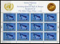 UNITED NATIONS 2001 NOBEL PEACE PRIZE CPL SHEETS, NY,GENEVA & VIENNA MINT NH