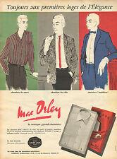 Publicité Advertising 1958  Chemise MAC ORLEY pret à porter mode