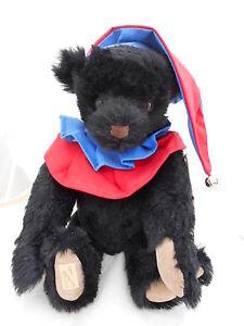 """Deans Rare Mohair Black Bear """" Jester Bear """" limited edition 4/100"""