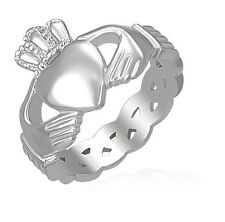 Silver Stainless Steel Claddagh Infinity Weave Ring Size 6-13