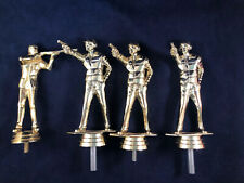 Lot Of 4 Vintage Gold Plastic Shooting Hunting Gun Trophy Topper Marksman