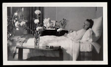 HOPEFUL GAZE SICKLY LOVELY WOMAN in HOSPITAL BED ~ 1930s VINTAGE PHOTO