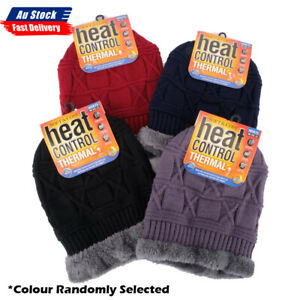 NEW Beanie Adults Heat Control Thermal Lined Fringe Faux Fur AU STOCK
