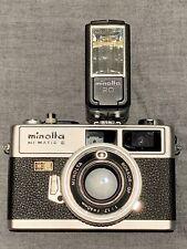 Vintage Working Minolta HI-MATIC E 40mm f1.7 Rangefinder 35mm Film Camera Flash