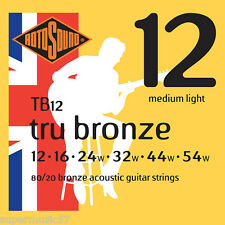 Rotosound TB12 tru bronze 80/20 guitare acoustique cordes medium light gauge 12-54