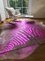 Kuhfell Rinderfell Beige mit Rosa / Pink Zebraprint, Unikat! 220cm x 200cm, RUG