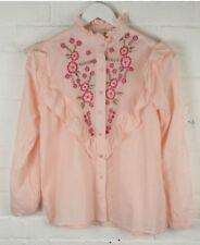 Neuf Taille 10 Ex Zara floral brodé à volants coton Chemise Rose RRP £ 40