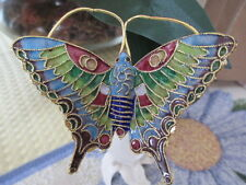 CLOISONNE BUTTERFLY ~ WINE STOPPER ~GREEN AND BLUE MARKINGS