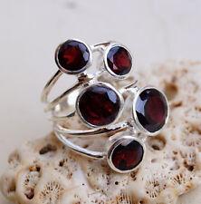 Silberring 57 Granat Rubinrot Handarbeit Silber Ring Wrap Design Modern Massiv