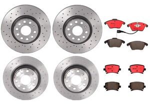 Brembo Front and Rear Full Brake Kit Drilled Disc Rotors Ceramic Pads For VW GTI