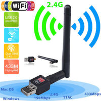 150Mbps 2.4Ghz Wireless USB WiFi Network Adapter w/Antenna 802.11N  ^D