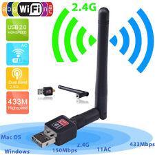 150Mbps 2.4Ghz Wireless USB WiFi Network Adapter w/Antenna 802.11N 8PLUS