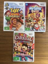 Nintendo Wii Games X 3 Toy Story Mania, My Sims Party & Carnival Games
