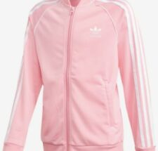 ADIDAS GIRLS Big Girl's Track Jacket Pink XL Warmup Pink Zip Jacket