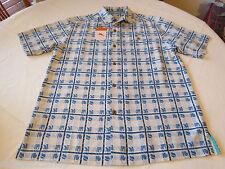 Tommy Bahama T35296 Sail A Wave Plaid silk Men's button shirt S Dutch Blue 3157