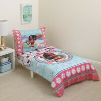 New Disney Moana Island Daughter Toddler 4-Piece Bedding Quilt Sheet Set