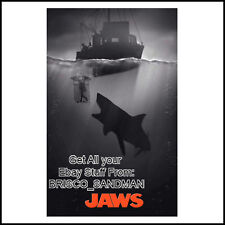 "Fridge Fun Refrigerator Magnet JAWS MOVIE B/W ART V: A ""ORCA SHARK CAGE"" Retro"